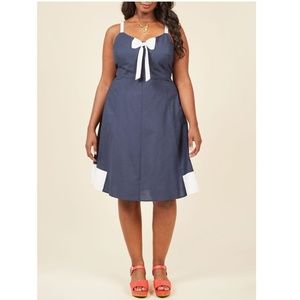 ModCloth Yours to Adore Navy White Bow Dress